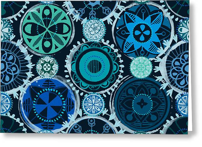Lisa Noneman Greeting Cards - Blue Medallions  Greeting Card by Lisa Noneman