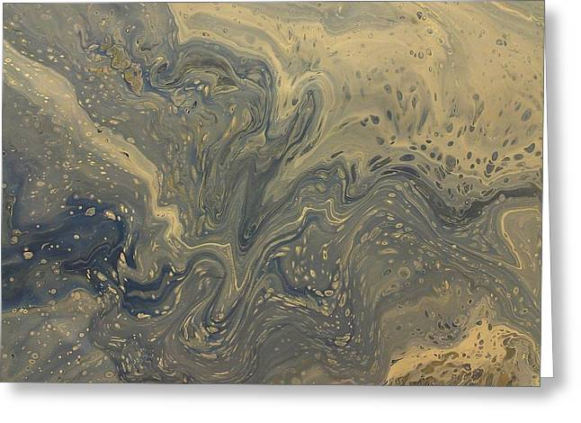 Acrylic Pour Greeting Cards - Blue Mercury Greeting Card by Sonya Wilson