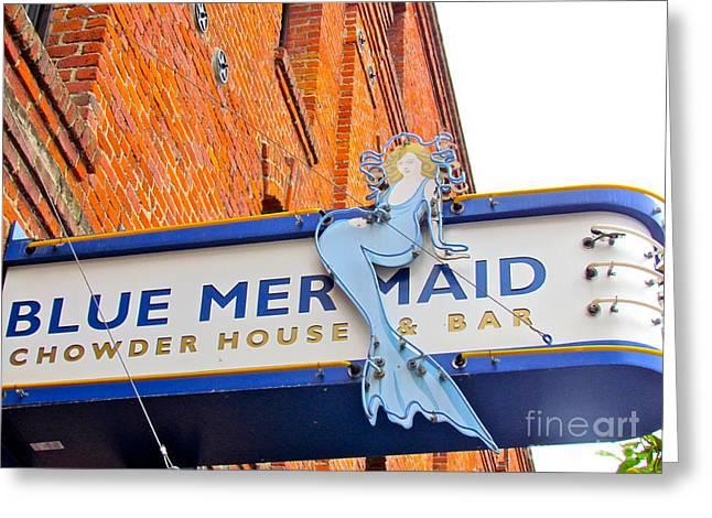 Chowder House Greeting Cards - Blue Mermaid Greeting Card by Beth Saffer