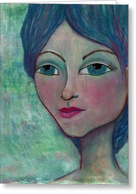 Lisa Noneman Mixed Media Greeting Cards - Blue Mermaid Girl Greeting Card by Lisa Noneman