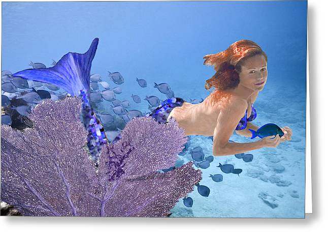 Blue Mermaid Greeting Card by Paula Porterfield-Izzo