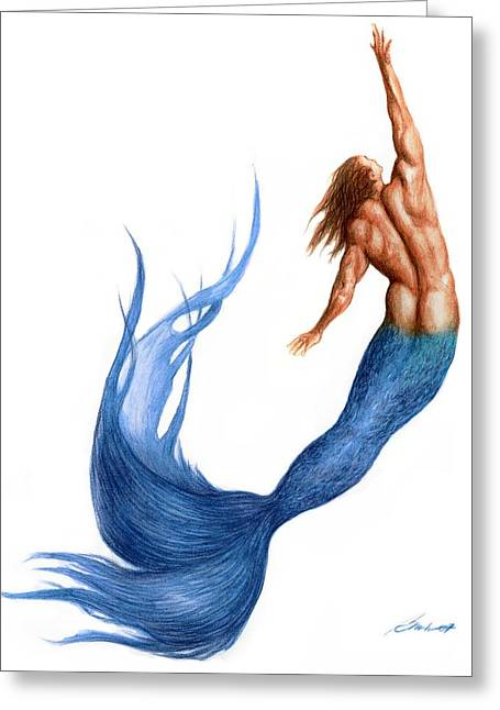 Blue Merman Greeting Card by Bruce Lennon