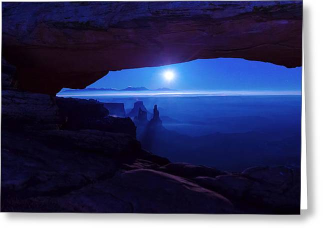 Moonrise Greeting Cards - Blue Mesa Arch Greeting Card by Chad Dutson