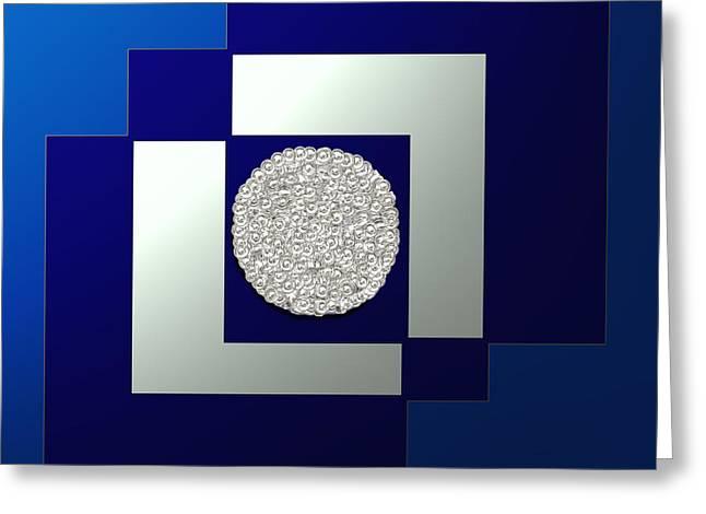 Shesh Tantry Greeting Cards - Blue Metallic Greeting Card by Shesh Tantry
