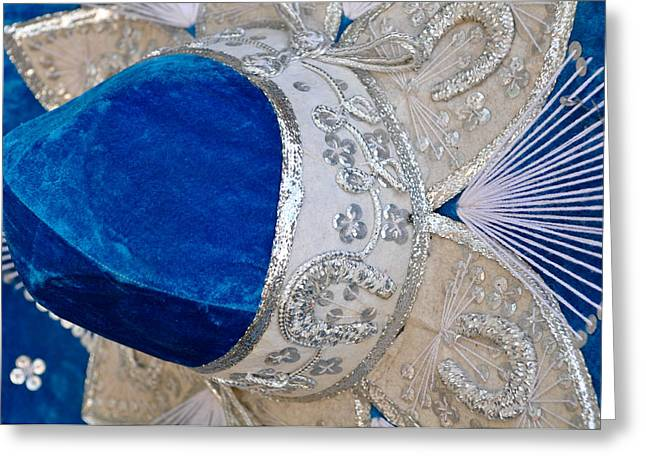 Mexican Fiesta Greeting Cards - Blue Mexican Sombrero Close Up Greeting Card by Brandon Bourdages