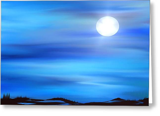 Solar Eclipse Paintings Greeting Cards - Super Moon Greeting Card by Yul Olaivar