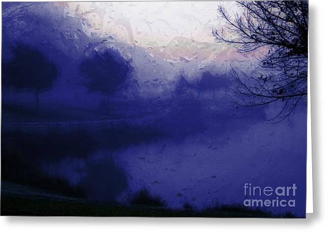 Julielueders Greeting Cards - Blue Misty Reflection Greeting Card by Julie Lueders