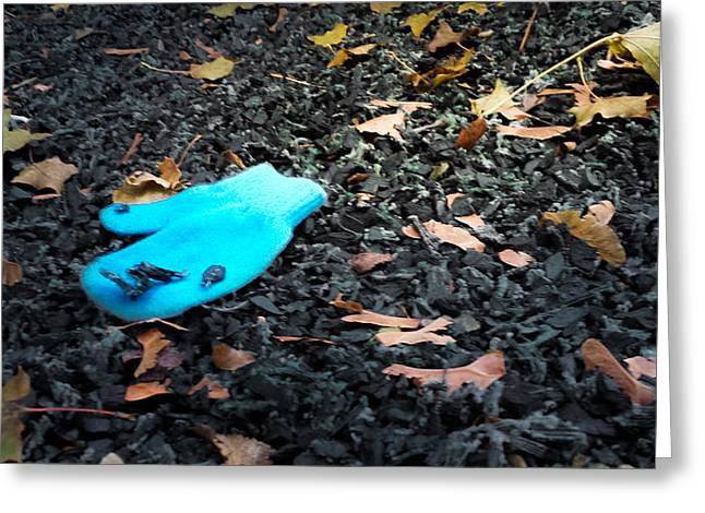 Little Boy Lost Greeting Cards - Blue Mitten Greeting Card by Tom Gort