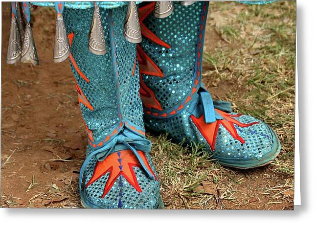 Native Peoples Greeting Cards - Blue Moccasins Greeting Card by Art Block Collections
