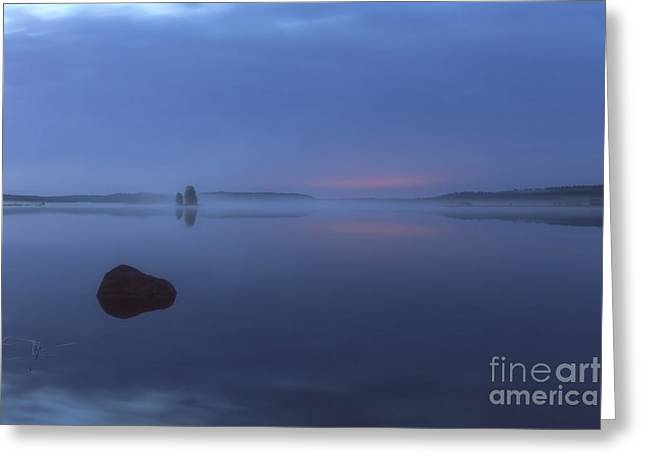 Foggy Beach Greeting Cards - Blue moment Greeting Card by Veikko Suikkanen