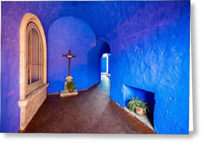 Catherine White Greeting Cards - Blue Monastery Interior Greeting Card by Jess Kraft
