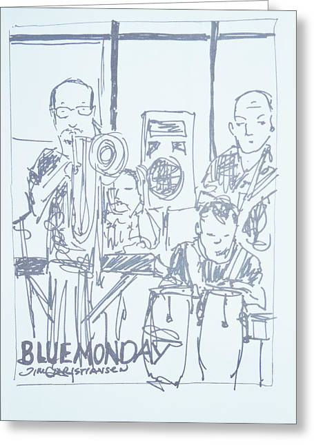 Valdes Drawings Greeting Cards - Blue Monday Jam and Jamie Dubberly Greeting Card by James  Christiansen