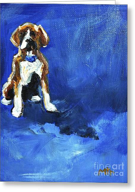 Boxer Art Greeting Cards - Blue Monday Greeting Card by Maria