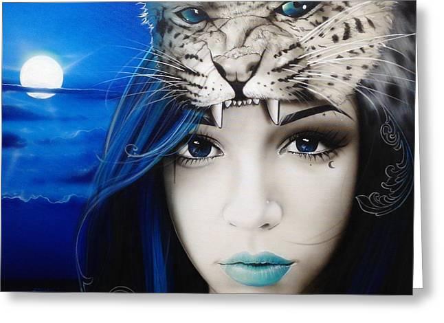 Portrait - ' Blue Moon ' Greeting Card by Christian Chapman Art