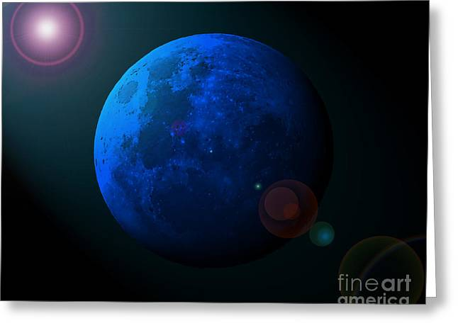 Luna Greeting Cards - Blue Moon Digital Art Greeting Card by Al Powell Photography USA