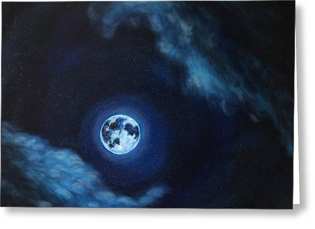 Movement Greeting Cards - Blue Moon Greeting Card by Felix Concepcion