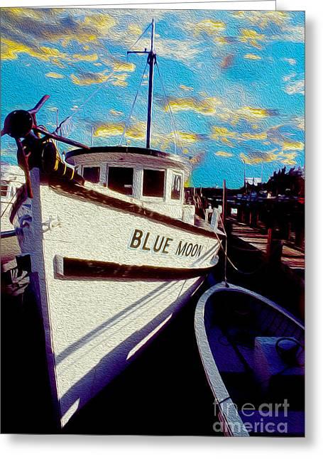 Boat Mixed Media Greeting Cards - Blue Moon  Greeting Card by Jon Neidert