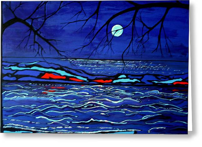 Peltomaa Greeting Cards - Blue Moon Greeting Card by Kathy Peltomaa Lewis