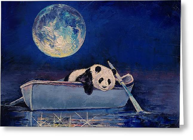 Giant Panda Greeting Cards - Blue Moon Greeting Card by Michael Creese