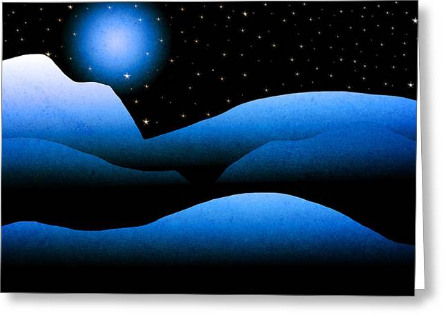Snow-covered Landscape Greeting Cards - Blue Moon Mountain Landscape Art Greeting Card by Christina Rollo