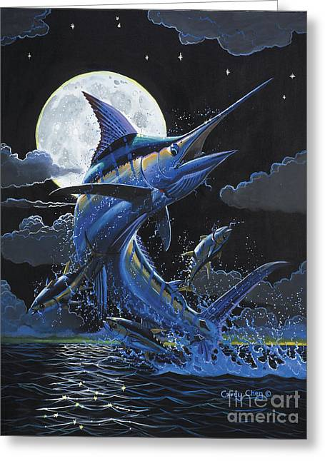 Striped Marlin Greeting Cards - Blue Moon Off0069 Greeting Card by Carey Chen
