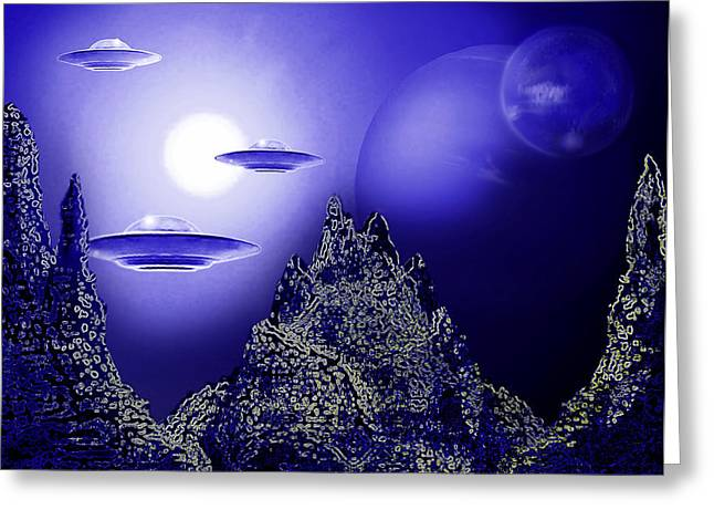 Observer Greeting Cards - Blue Moon over an Alien Planet Greeting Card by Hartmut Jager