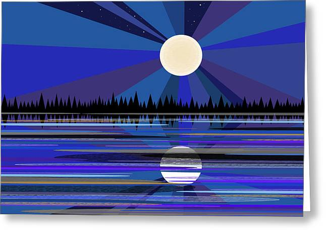 Moon Rise Greeting Cards - Blue Moon Rise Greeting Card by Val Arie