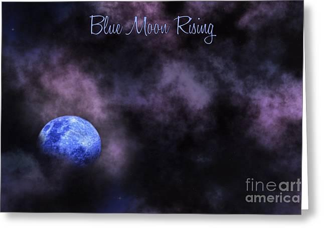Blue Moon Rising Greeting Card by Kaye Menner