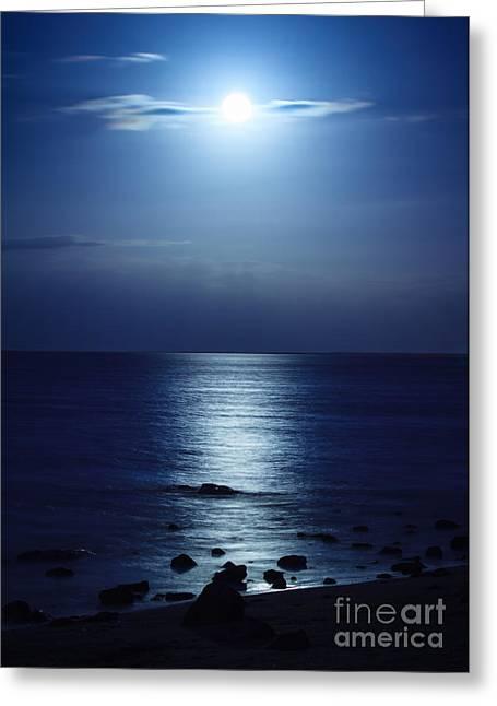 Sea Moon Full Moon Greeting Cards - Blue Moon Rising Greeting Card by Peta Thames