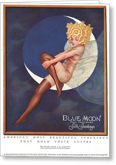Twentieth Century Greeting Cards - Blue Moon Silk Stockings 1920s Usa Greeting Card by The Advertising Archives