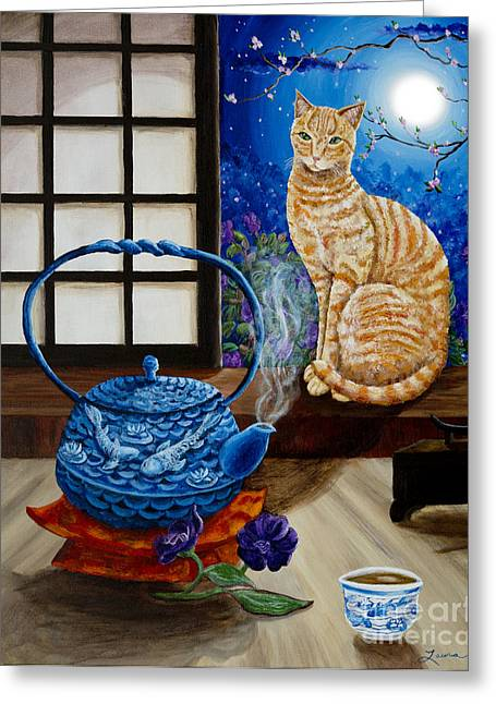 Orange Tabby Paintings Greeting Cards - Blue Moon Tea Greeting Card by Laura Iverson
