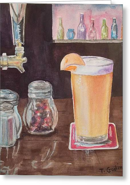 Glass Bottle Greeting Cards - Blue Moon Greeting Card by Terry Godinez