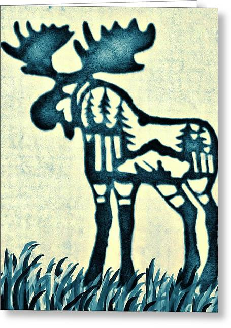 Primitive Pyrography Greeting Cards - Blue Moose Greeting Card by Larry Campbell