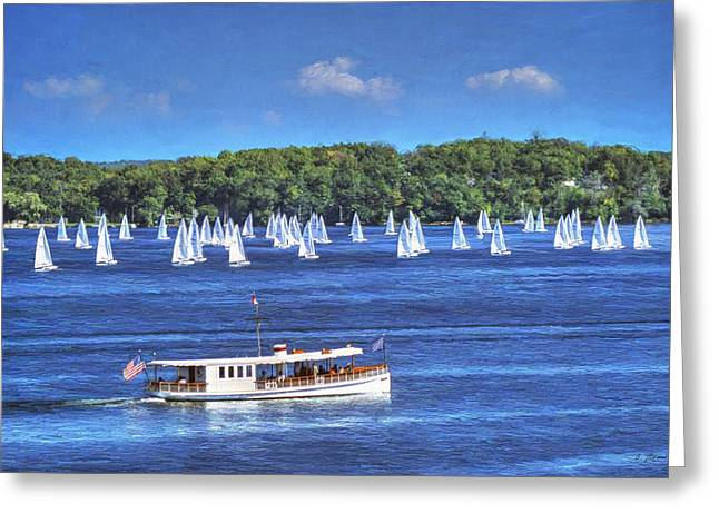 Canvas Framing Paintings Greeting Cards - Blue Morning Cruise - Lake Geneva Wisconsin Greeting Card by Ben Thompson