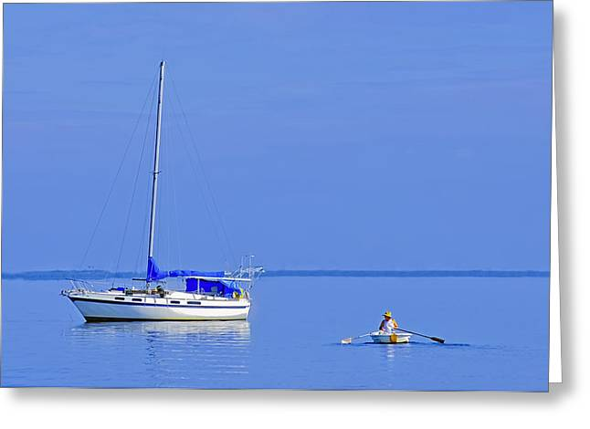 Sailboat Art Greeting Cards - Blue Morning Greeting Card by Patrick M Lynch