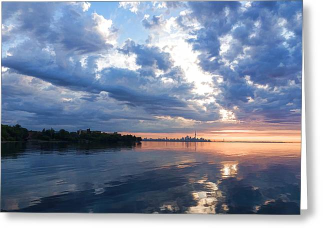 Gloaming Greeting Cards - Blue Morning Zen - Toronto Skyline Impressions Greeting Card by Georgia Mizuleva