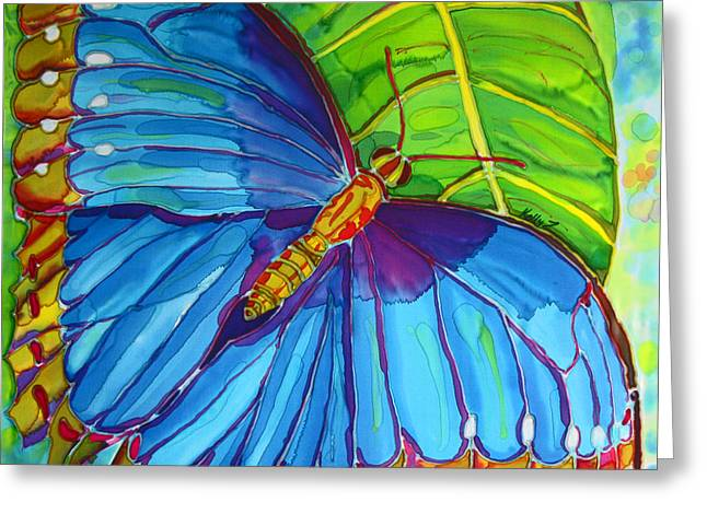 Blue Tapestries - Textiles Greeting Cards - Blue Morpho Butterfly on Zebra Greeting Card by Kelly     ZumBerge
