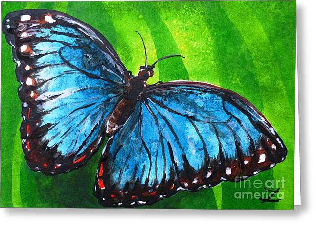 Most Viewed Greeting Cards - Blue Morpho Butterfly Greeting Card by Zaira Dzhaubaeva