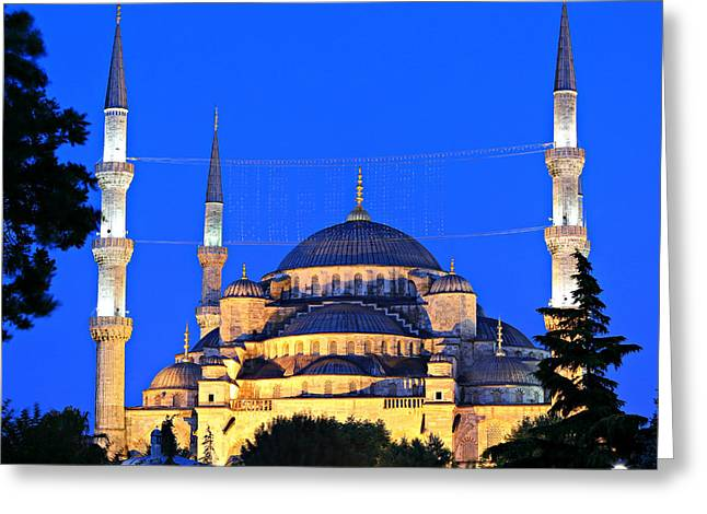 Blue Mosque At Dawn Greeting Card by Stephen Stookey