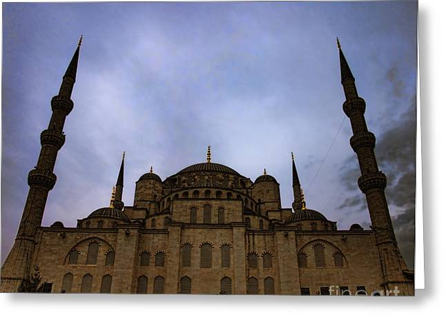 Evening Scenes Greeting Cards - Blue Mosque at night 02 Greeting Card by Antony McAulay