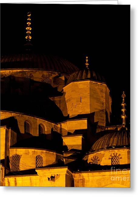 Istanbul Greeting Cards - Blue Mosque At Night 02 Greeting Card by Rick Piper Photography