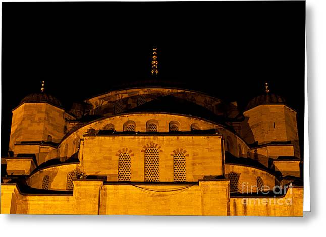 Istanbul Greeting Cards - Blue Mosque At Night 03 Greeting Card by Rick Piper Photography