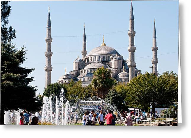 Istanbul Greeting Cards - Blue Mosque Blue Sky 01 Greeting Card by Rick Piper Photography