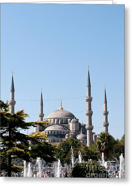 Istanbul Greeting Cards - Blue Mosque Blue Sky 02 Greeting Card by Rick Piper Photography