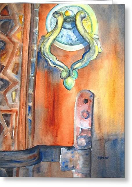Hardware Paintings Greeting Cards - Blue Mosque Door Greeting Card by Carlin Blahnik