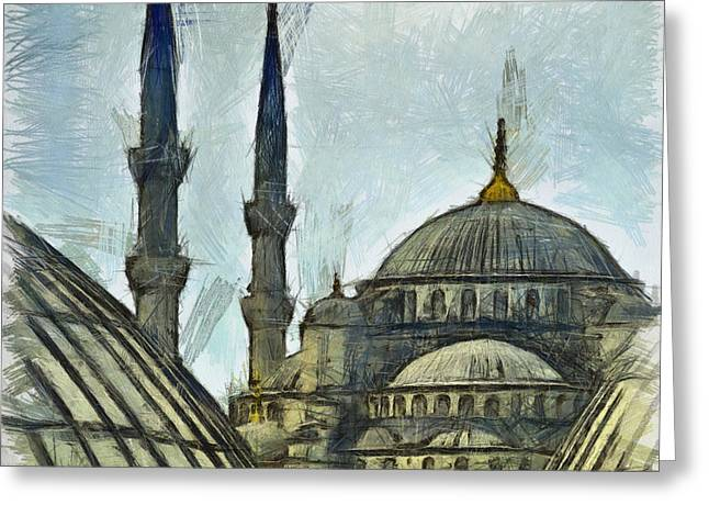 Historic Architecture Pastels Greeting Cards - Blue Mosque drawing Greeting Card by Antony McAulay