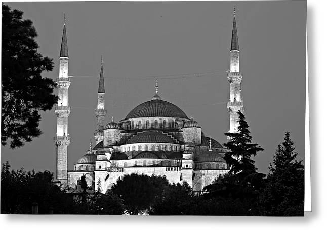 Blue Mosque In Black And White Greeting Card by Stephen Stookey