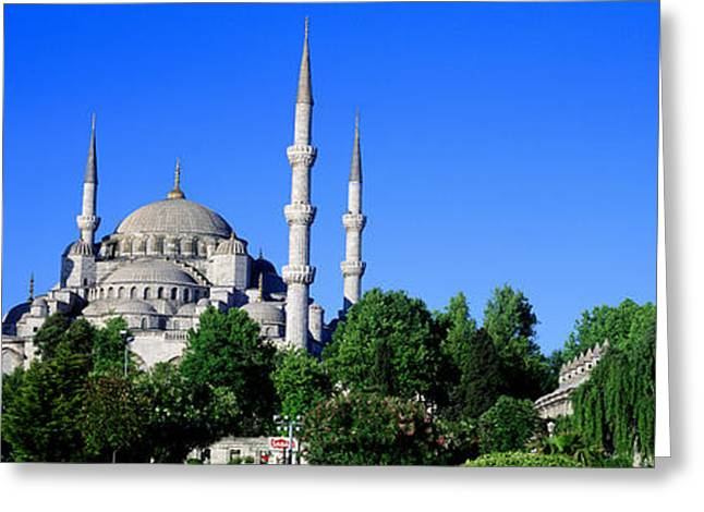 Istanbul Photographs Greeting Cards - Blue Mosque Istanbul Turkey Greeting Card by Panoramic Images