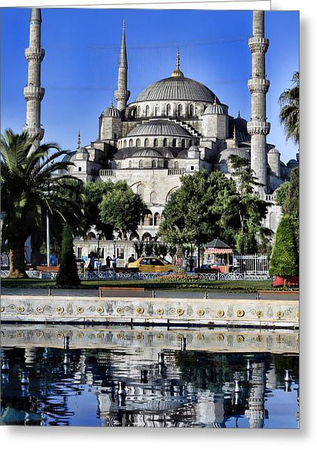 Byzantine Greeting Cards - Blue Mosque Reflection Greeting Card by Stephen Stookey