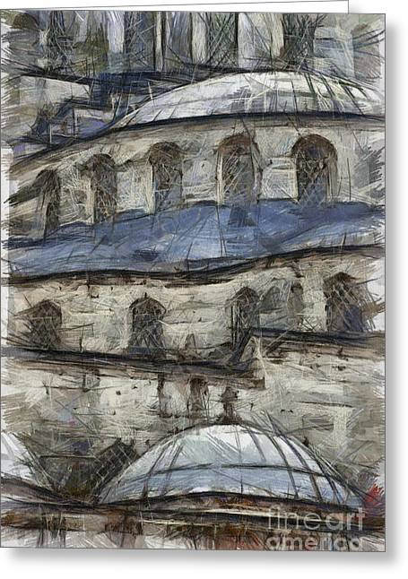 Travel Pastels Greeting Cards - Blue Mosque sketch Greeting Card by Antony McAulay